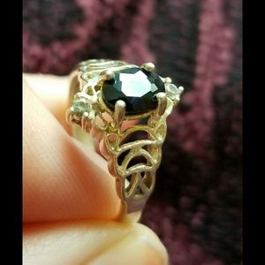 Vintage 925 Sterling silver ring sapphire & topaz